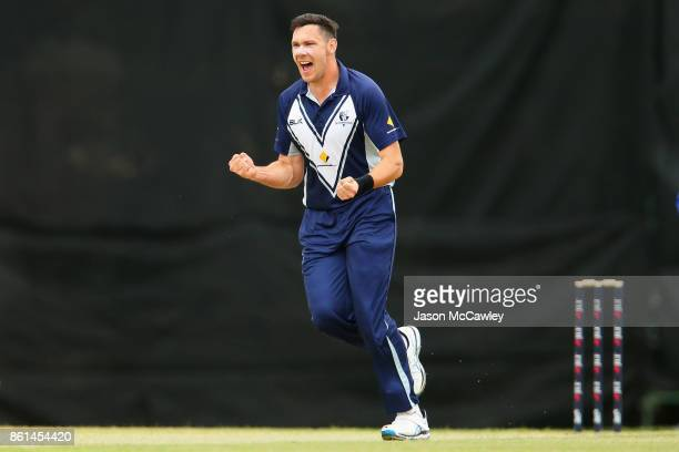 Scott Boland of Victoria celebrates taking the wicket of Daniel Hughes of NSW during the JLT One Day Cup match between New South Wales and Victoria...