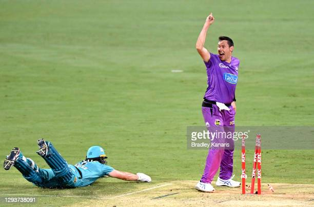 Scott Bolland of the Hurricanes celebrates victory as Mark Steketee of the Heat is run out on the last bowl of the match during the Big Bash League...