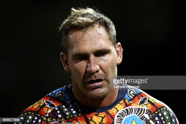 Scott Bolton of the Cowboys looks on during the round 10 NRL match between the Wests Tigers and the North Queensland Cowboys at Leichhardt Oval on...