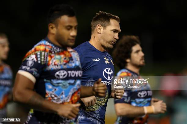 Scott Bolton of the Cowboys warms up during the round 10 NRL match between the Wests Tigers and the North Queensland Cowboys at Leichhardt Oval on...