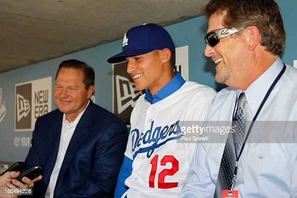 Scott Boras Corey Seager 2012 first round draft pick of the Los Angeles Dodgers, and Assistant GM Logan White of the Dodgers talk with the media...