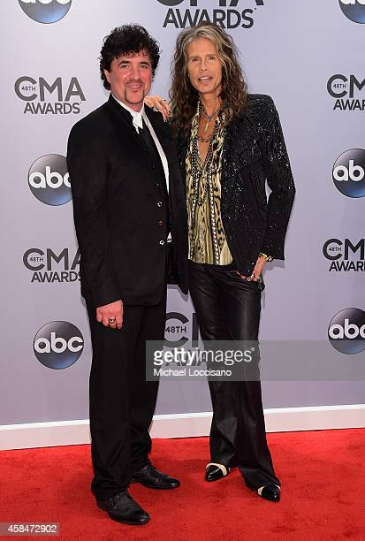 Scott Borchetta and Steven Tyler attend the 48th annual CMA Awards at the Bridgestone Arena on November 5, 2014 in Nashville, Tennessee.