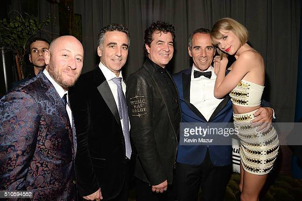 Scott Borchetta CEO of Republic Records Monte Lipman and Taylor Swift attend the Republic Records Grammy celebration at Hyde on Sunset on February 15...