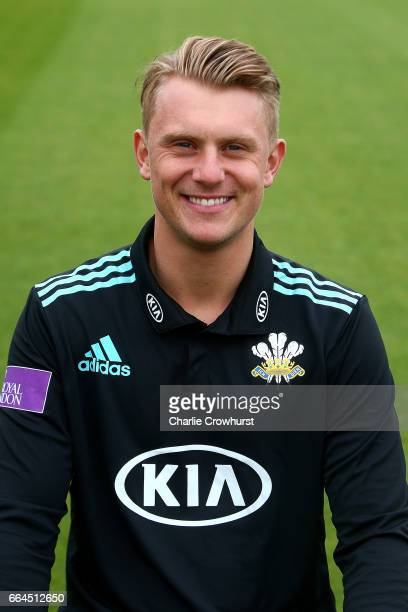 Scott Borthwick poses in the Royal London OneDay Cup kit during the Surrey CCC Photocall at The Kia Oval on April 4 2017 in London England