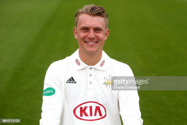 Scott Borthwick poses in the Specsavers County Championship kit during the Surrey CCC Photocall at The Kia Oval on April 4 2017 in London England