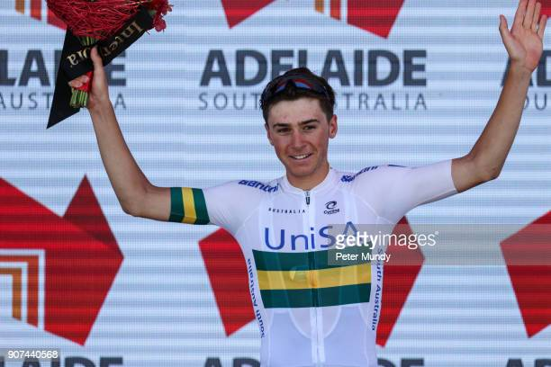 Scott Bowden of TEAM UNISAAUSTRALIA was the Most Competitive Rider Jersey winner of Stage three from Glenelg to Victor Harbour at the Santos Tour...