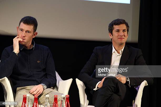 Scott Brash and Guillaume Canet attend the 6th Edition of The Gucci Paris Masters press conference at Le Royal Monceau on November 20 2014 in Paris...