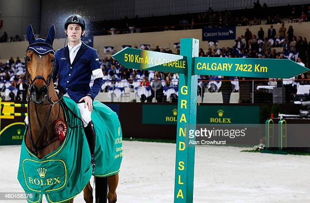 Scott Brash of Great Britain on Hello Sanctos wins The Rolex Grand Slam of Show Jumping at Palexpo on December 14 2014 in Geneva Switzerland