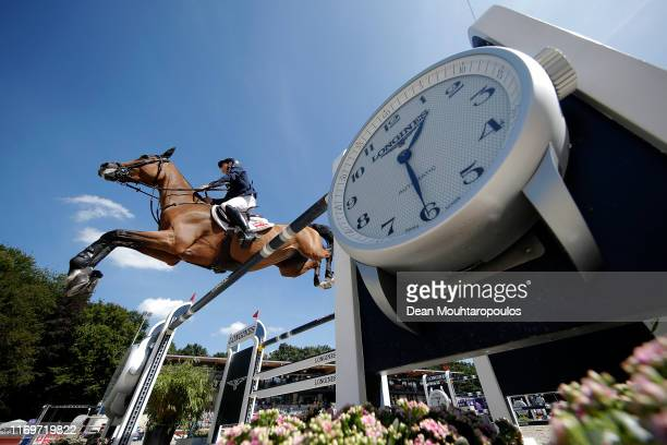 Scott Brash of Great Britain or Team GB riding Hello M'Lady competes during Day 4 of the Longines FEI Jumping European Championship 2nd part, team...