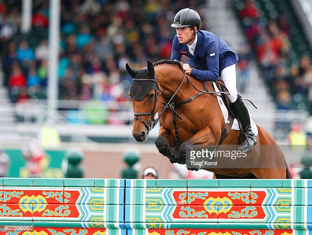Scott Brash of Great Britain rides his horse Ursula XII to a first place finish during the Spruce Meadows CP International Grand Prix on September 11...