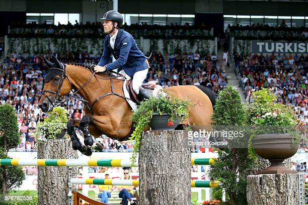 Scott Brash of Great Britain rides on Ursula XII and won the second place of the Rolex Grand Prix of CHIO Aachen 2016 at Aachener Soers on July 17...