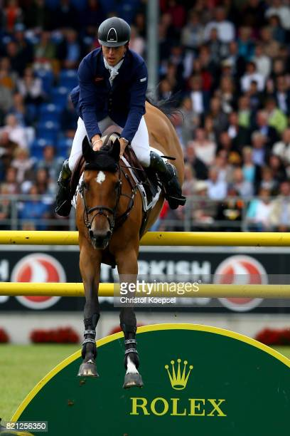 Scott Brash of Great Britain rides on Ursula XII during the Rolex Grand Prix of CHIO Aachen 2017 at Aachener Soers on July 23 2017 in Aachen Germany