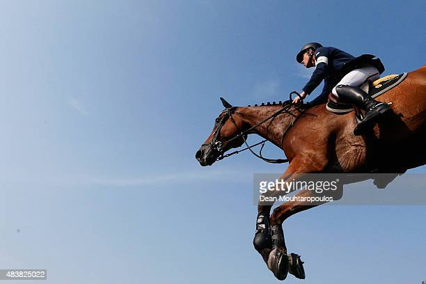 Scott Brash of Great Britain riding Hello Sanctos competes in the Class 02 CSI5* 150/155m Against the Clock with JumpOff during the Longines Global...