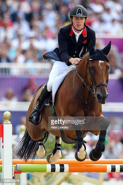 Scott Brash of Great Britain riding Hello Sanctos competes in the Individual Jumping Equestrian on Day 12 of the London 2012 Olympic Games at...