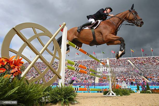 Scott Brash of Great Britain riding Hello Sanctos in the Individual Jumping on Day 12 of the London 2012 Olympic Games at Greenwich Park on August 8...