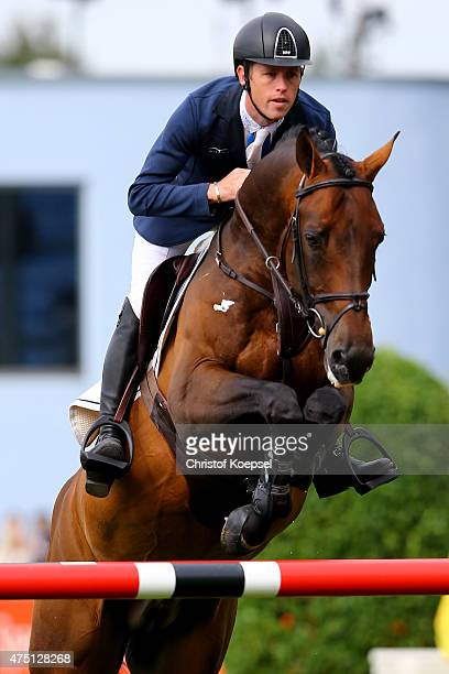 Scott Brash of GreatBritain rides on Hello M'Lord of the SparkassenYoungstersCup competition during the 2015 CHIO Aachen tournament at Aachener Soers...