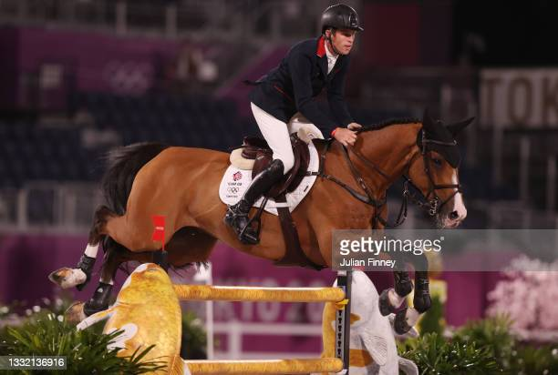 Scott Brash of Team Great Britain riding Jefferson competes during the Jumping Individual Qualifier on day eleven of the Tokyo 2020 Olympic Games at...