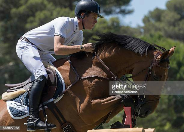 Scott Brash of UK and horse Constance during the jumping competition against the clock on the second day of the Longines Global Champion Tour on July...