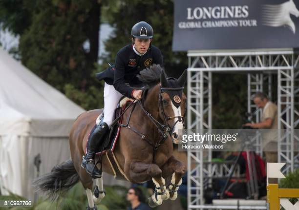 Scott Brash of UK and horse Hello Forever during the CSI5 Global Champions League of Cascais Final against the clock team and individual jumping...