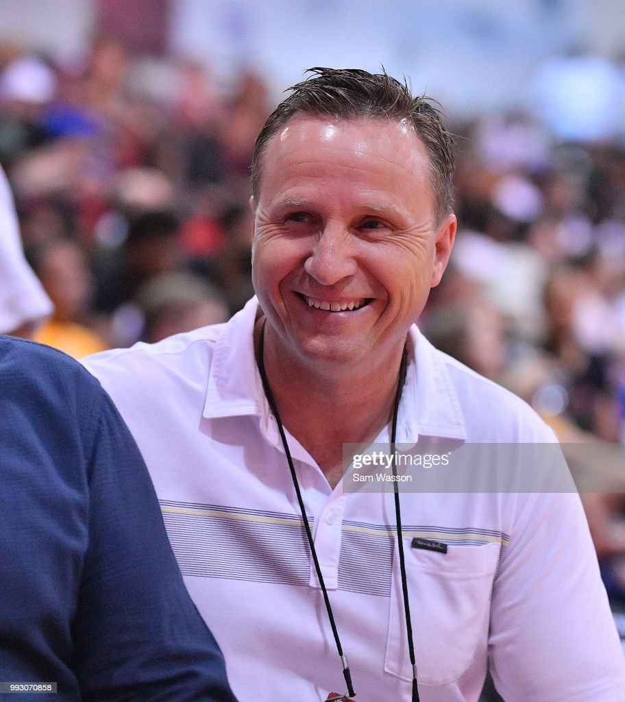 Scott Brooks head coach of the Washington Wizards looks on during a game between the Milwaukee Bucks and the Detroit Pistons during the 2018 NBA Summer League at the Cox Pavilion on July 6, 2018 in Las Vegas, Nevada. The Bucks defeated the Pistons 90-63.