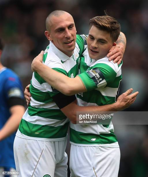 Scott Brown and James Forrest of Celtic celebrate during the William Hill Scottish Cup semifinal match between Celtic and Rangers at Hampden Park on...
