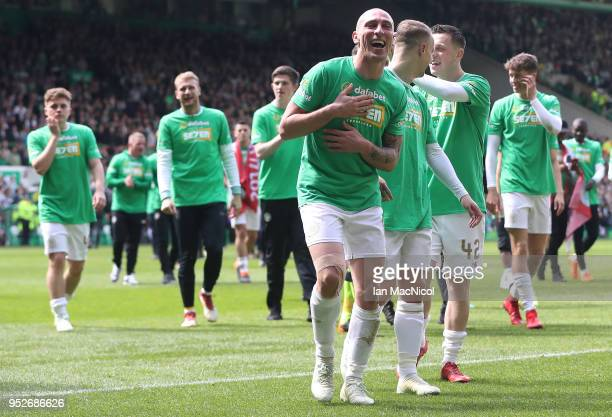 Scott Brown and Leigh Griffiths of Celtic celebrates during the Scottish Premier League match between Celtic and Rangers at Celtic Park on April 29...
