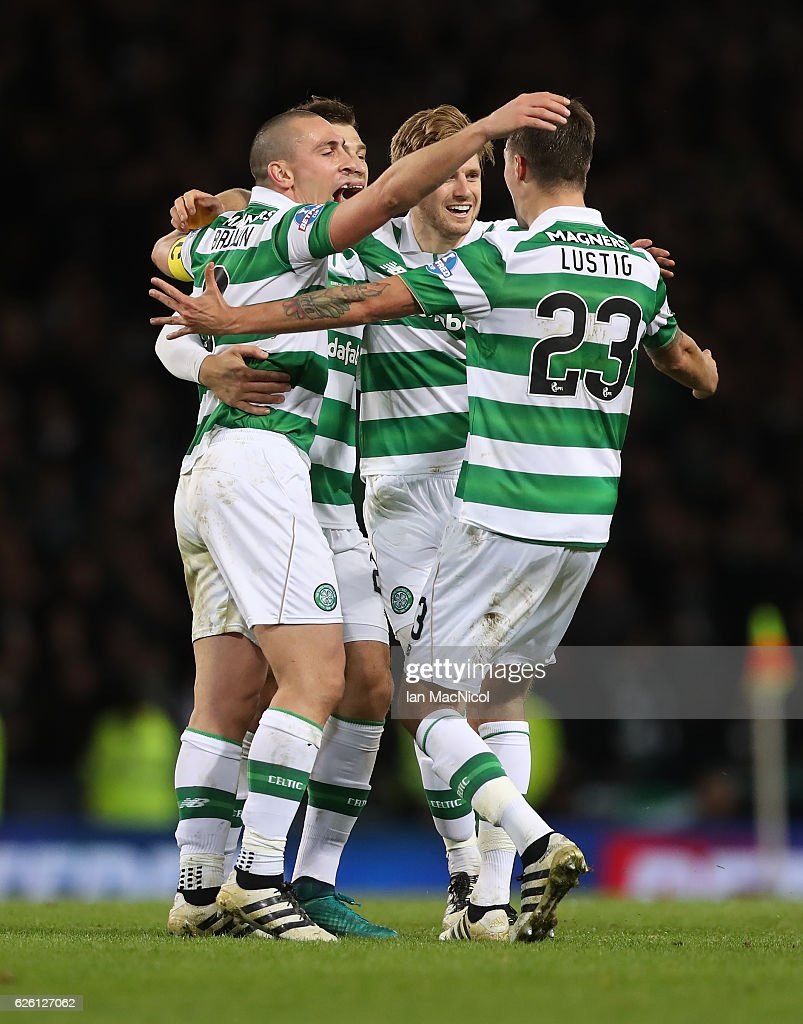 Scott Brown, Erik Sviatchenko, Stuart Armstrong and Mikael Lustig of Celtic celebrate during the Betfred Cup Final between Aberdeen and Celtic at Hampden Park on November 27, 2016 in Glasgow, Scotland.