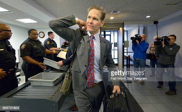 Scott Brown Ethan Couch's attorney enters the Scott D Moore Juvenile Justice Center in Fort Worth Texas on Tuesday Jan 19 before the Couch transfer...