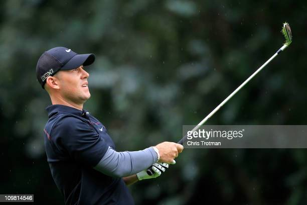 Scott Brown hits his approach to the third green during the final round of the weather shortened Pacific Rubiales Bogota Open Presented by Samsung at...