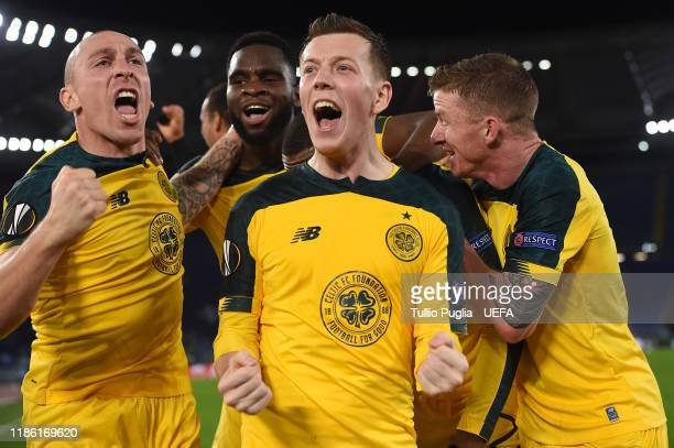 Scott Brown Odsonne Edouard Callum McGregor and Jonny Hayes of Celtic celebrate during the UEFA Europa League group E match between Lazio Roma and...