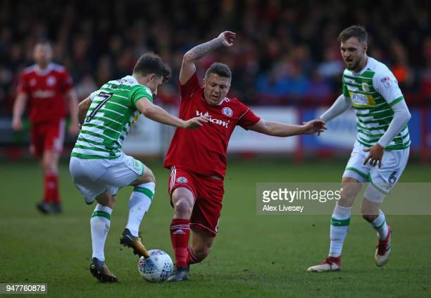 Scott Brown of Accrington Stanley tackles Otis Khan of Yeovil Town during the Sky Bet League Two match between Accrington Stanley and Yeovil Town at...