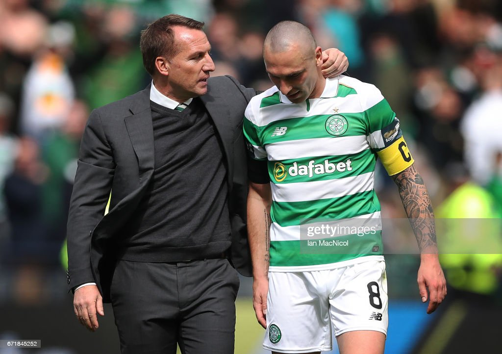Scott Brown of Celtic and Celtic Manager Brendan Rodgers are seen during the William Hill Scottish Cup semi-final match between Celtic and Rangers at Hampden Park on April 23, 2017 in Glasgow, Scotland.