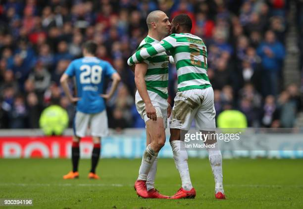 Scott Brown of Celtic and Olivier Ntcham of Celtic celebrate there sides second goal of the game during the Ladbrokes Scottish Premiership match...