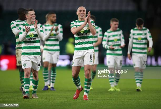 Scott Brown of Celtic applauds during the Ladbrokes Premiership match between Celtic and Hibernian at Celtic Park on February 6 2019 in Glasgow...