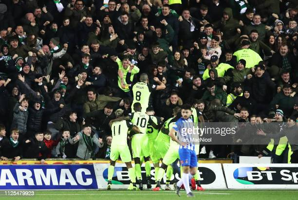 KILMARNOCK SCOTLAND FEBRUARY 17 Scott Brown of Celtic celebrates after he scores the winning goal during he Scottish Ladbrokes Premiership match...