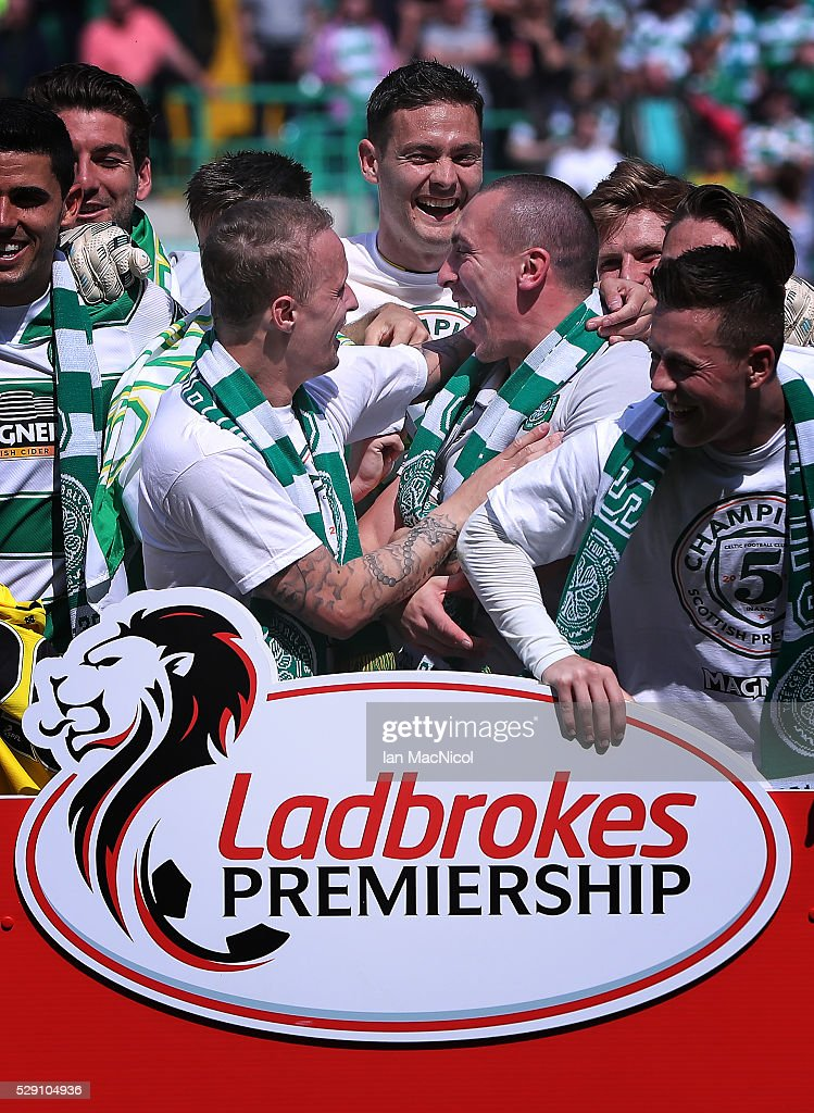 Scott Brown of Celtic celebrates at the end of the match during the Ladbrokes Scottish Premier League match between Celtic and Aberdeen at Celtic Park on May 8, 2016 in Glasgow, Scotland.