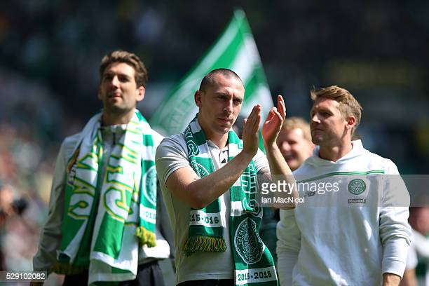 Scott Brown of Celtic celebrates during the Ladbroke Scottish Premiership match between Celtic and Aberdeen at Celtic Park on May 8 2016 in Glasgow...