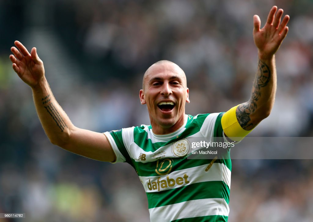 Scott Brown of Celtic celebrates following the Scottish Cup Final between Motherwell and Celtic at Hampden Park on May 19, 2018 in Glasgow, Scotland.