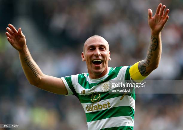 Scott Brown of Celtic celebrates following the Scottish Cup Final between Motherwell and Celtic at Hampden Park on May 19 2018 in Glasgow Scotland