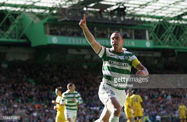 Scott Brown of Celtic celebrates his 10 goal during the Clydesdale Bank Scottish Premier League match between Celtic and Hibernian at Celtic Park on...