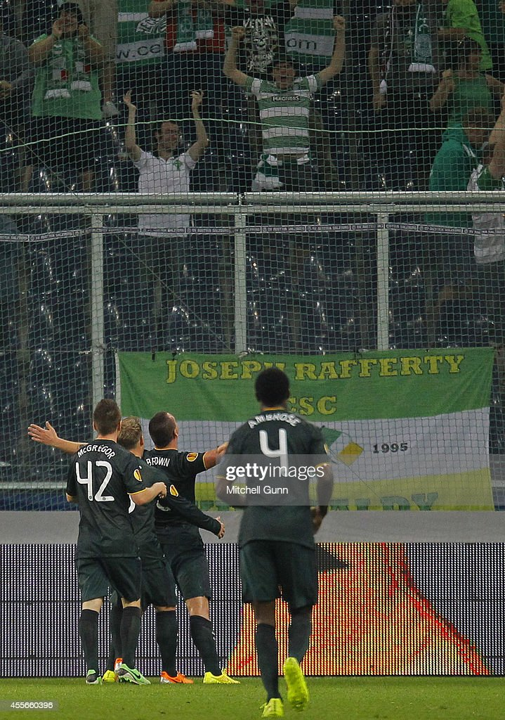 Scott Brown of Celtic celebrates scoring a goal during the UEFA Europa League match between Salzburg and Celtic. September 18, 2014 in Salzburg, Austria.