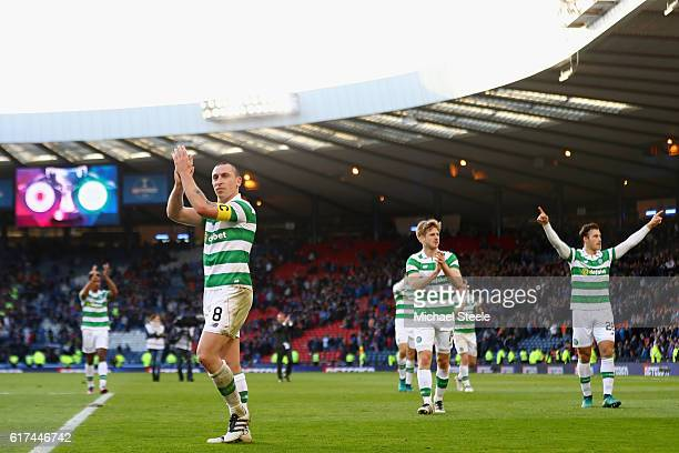 Scott Brown of Celtic celebrates victory with his team mates during the Betfred Cup Semi Final match between Rangers and Celtic at Hampden Park on...