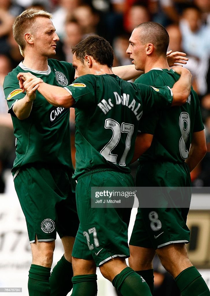 Scott Brown of Celtic celebrates with Derek Riordan and Scott McDonald after scoring during the Scottish Premier League match between Celtic and St Mirren at Love Street on September 2, 2007 in Paisley, Scotland.