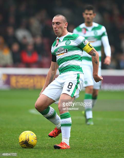 Scott Brown of Celtic controls the ball during the Ladbrokes Scottish Premiership match between Motherwell and Celtic at Fir Park on October 17 2015...