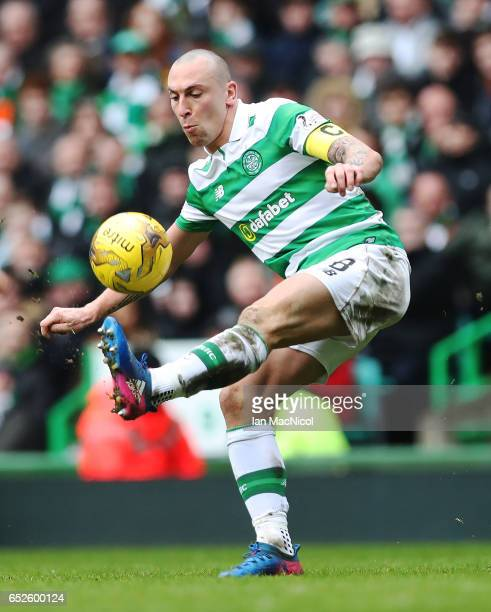 Scott Brown of Celtic controls the ball during the Ladbrokes Scottish Premiership match between Celtic and Rangers at Celtic Park on March 12 2017 in...