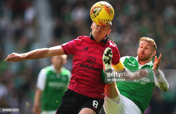 Scott Brown of Celtic controls the ball during the Ladbrokes Scottish Premiership match between Hibernian and Celtic at Easter Road on April 21 2018...