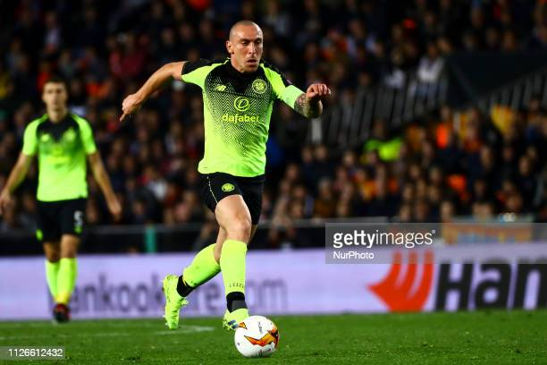 Scott Brown of Celtic FC during round of 32 Second leg of UEFA Europa league match between Valencia CF vs Celtic at Mestalla Stadium on February 21...