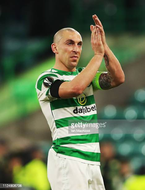 Scott Brown of Celtic is seen at full time during the UEFA Europa League Round of 32 First Leg match between Celtic and Valencia at Celtic Park on...