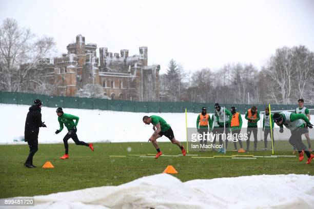 Scott Brown of Celtic is seen during a training session at Lennoxtown on December 29 2017 in Glasgow Scotland