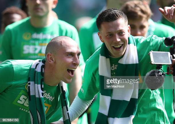 Scott Brown of Celtic is seen during the Scottish Premier League match between Celtic and Rangers at Celtic Park on April 29 2018 in Glasgow Scotland